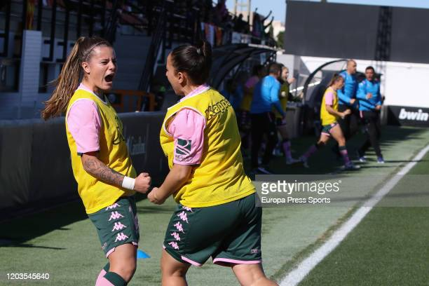 Ana Gonzalez and Riosa Otermin of Real Betis Balompie celebrates a goal during the Spanish League Primera Iberdrola women football match played...