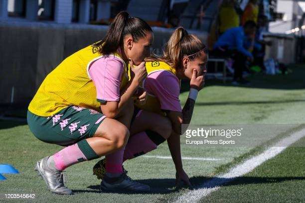 Ana Gonzalez and Riosa Otermin of Real Betis Balompie during the Spanish League Primera Iberdrola women football match played between Valencia CF...