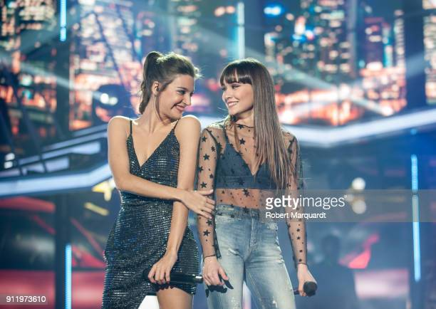 Ana Guerra and Aitana Ocana perform on stage for Operacion Triunfo Eurovision contest on January 29 2018 in Barcelona Spain