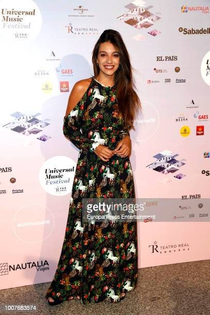 Ana Guerra attends the Pablo Lopez concert photocall at Royal Theatre during Universal Music Festival on July 28 2018 in Madrid Spain