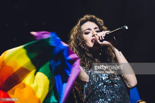 Ana Guerra performs on stage during LOS40 Primavera Pop festival at Madrid WiZink Center on May 17 2019 in Madrid Spain