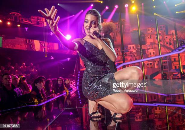 Ana Guerra performs on stage for Operacion Triunfo Eurovision contest on January 29 2018 in Barcelona Spain