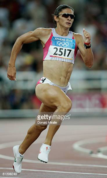 Ana Guevara of Mexico competes in the women's 400 metre semifinal on August 22 2004 during the Athens 2004 Summer Olympic Games at the Olympic...