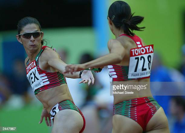 Ana Guevara of Mexico in action during the first round of the women's 4x400m relay at the 9th IAAF World Athletics Championships August 30 2003 in...