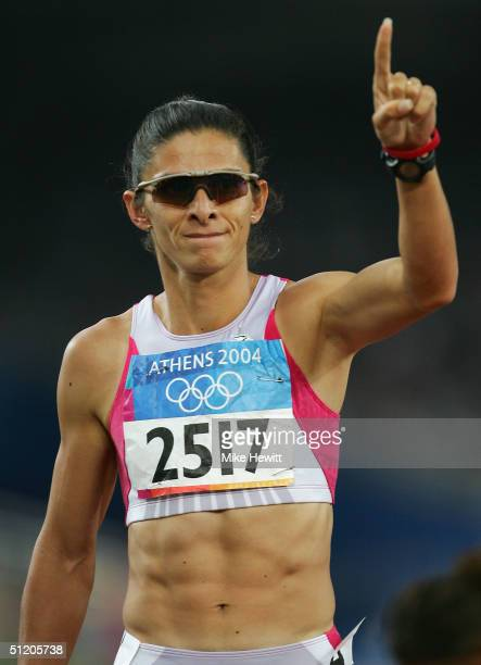 Ana Guevara of Mexico is seen after the women's 400 metre semifinal on August 22 2004 during the Athens 2004 Summer Olympic Games at the Olympic...