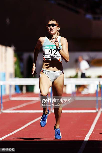 Ana Guevara of Mexico pictured during the Women¿s 400 metres race at the IAAF World Athletics Final on September 19 2004 at the Stade Louis II in...