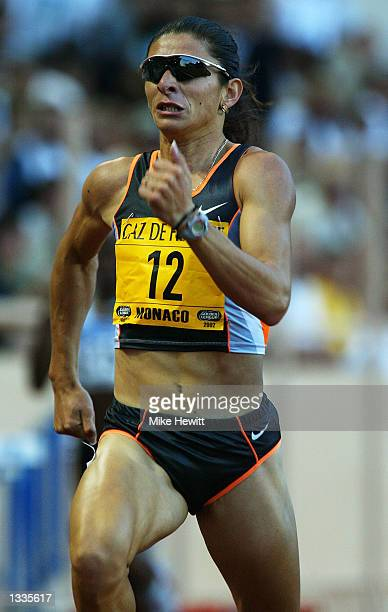Ana Guevara of Mexico wins the 400m during the Herculis IAAF Golden League Meeting at the Stade Louis II in Monaco on July 19 2002