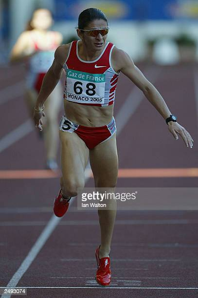 Ana Guevara of Mexico wins the women's 400m during the IAAF World Athletics Final at the Stade Louis II on September 14 2003 in Monaco