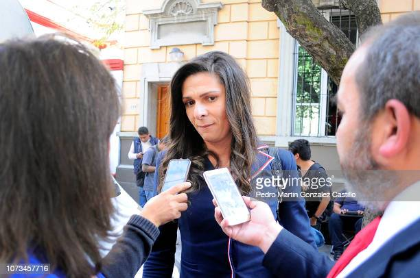 Ana Guevara talks with journalists during the announcement of the new Ministry of Foreign Affairs working team at Casa de Transicion on November 27...