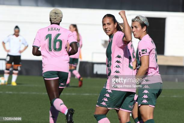Ana Hernandez of Real Betis Balompie celebrates a goal during the Spanish League Primera Iberdrola women football match played between Valencia CF...