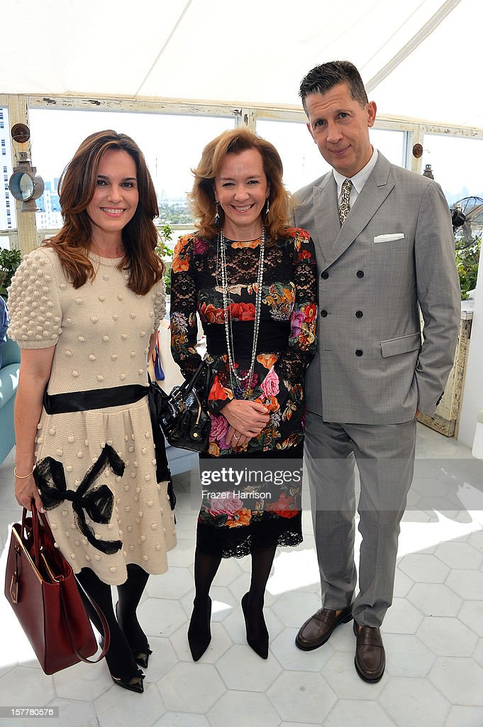 Ana Hughes, Caroline Scheufele and W Editor-in-Chief Stefano Tonchi attend the Chopard and W Magazine 'Marilyn Forever' exhibition at Soho Beach House on December 6, 2012 during Art Basel Miami in Miami Beach, Florida.