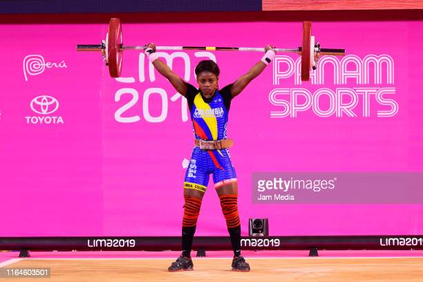 Ana Iris Segura of Colombia lifts during the Women's Weightlifting 49kg Group A on Day 1 of the Lima 2019 Pan Am Games at Mariscal Caceres Coliseum...