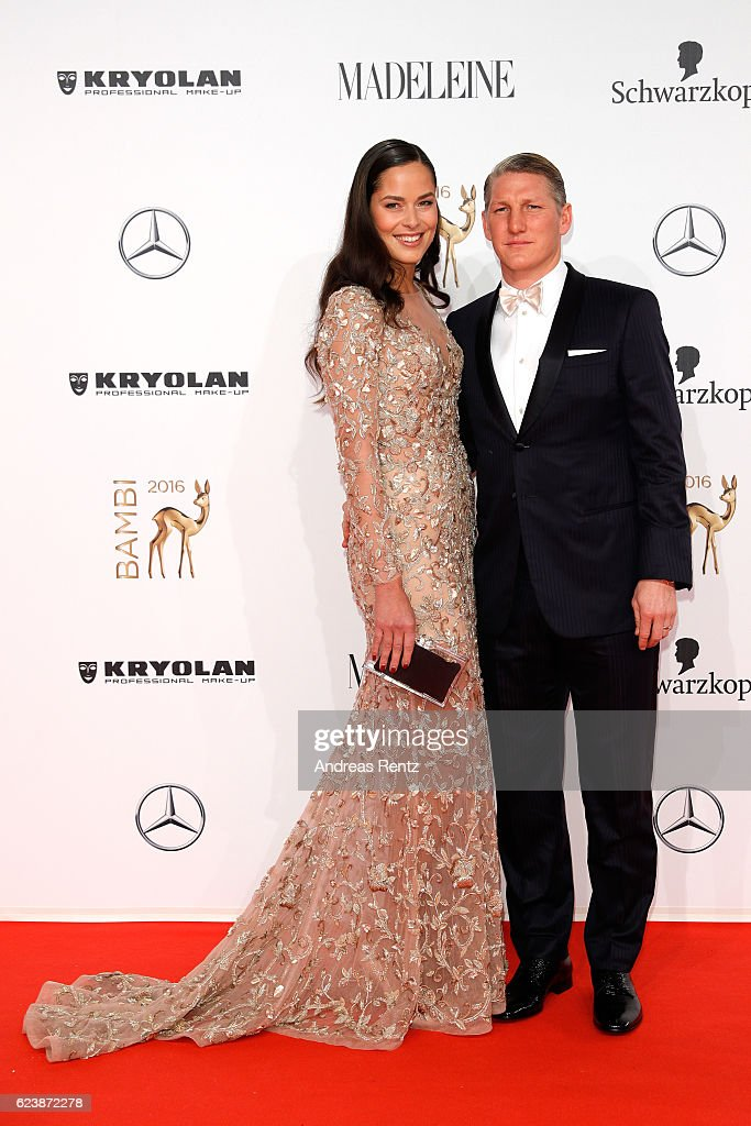 Ana Ivanovic and Bastian Schweinsteiger arrive at the Bambi Awards 2016 at Stage Theater on November 17, 2016 in Berlin, Germany.