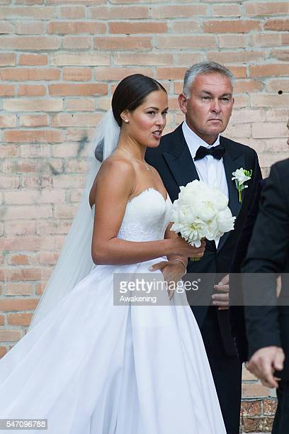 Ana Ivanovic and her father Miroslav Ivanovic enter to the church for the wedding to Bastian Schweinsteiger on July 13 2016 in Venice Italy