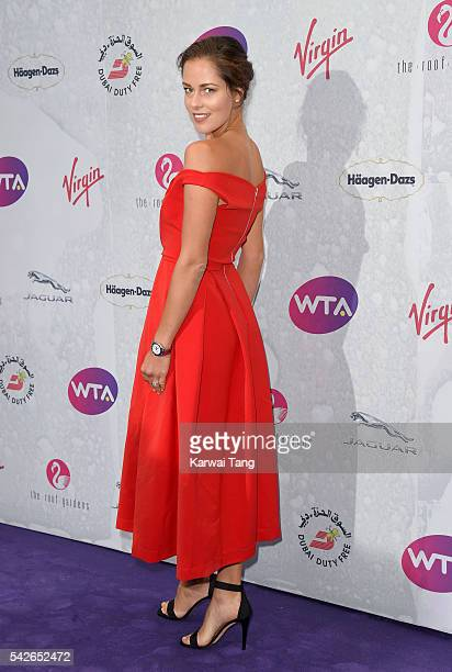 Ana Ivanovic arrives for the WTA PreWimbledon Party at Kensington Roof Gardens on June 23 2016 in London England