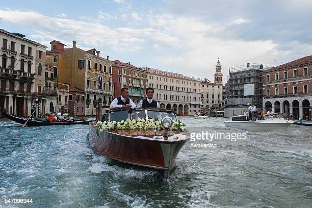 Ana Ivanovic is on the taxi of Aman Grand Canal Hotel to reach the church for the wedding with Bastian Schweinsteiger on July 13 2016 in Venice Italy