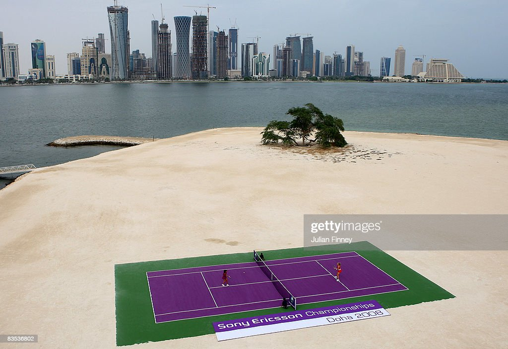Ana Ivanovic of Serbia and Elena Dementieva of Russia play a historic match on a Desert Island in the bay of Doha to mark the start of the Sony Ericsson Championship in Doha on November 2, 2008 in Doha, Qatar. The tournament runs from 4th to the 9th November and is the season finale of the Sony Ericsson WTA Tour 2008.