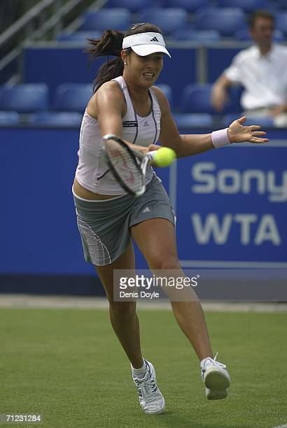 Ana Ivanovic of Serbia and Montenegro returns a forehand to Alicia Molik of Australia during an Ordina Open first round tennis match on June 18 2006...