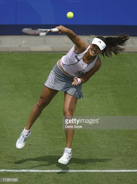 Ana Ivanovic of Serbia and Montenegro serves to Alicia Molik of Australia during an Ordina Open first round tennis match on June 18 2006 in...
