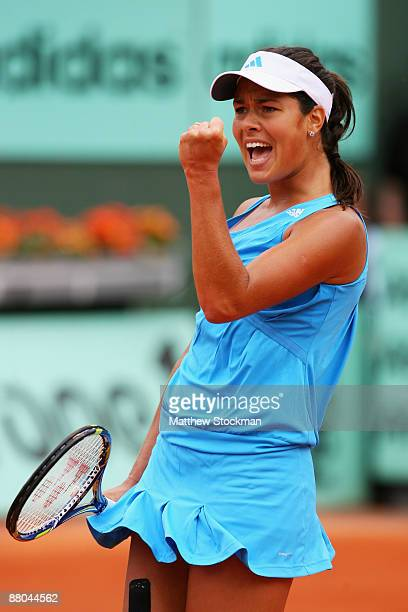 Ana Ivanovic of Serbia celebrates a point during the Women's Singles Third Round match against Iveta Benesova of Czech Republic on day six of the...