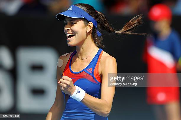 Ana Ivanovic of Serbia celebrates after winning the match against Alison Riske of United States during day two of the ASB Classic at ASB Tennis...