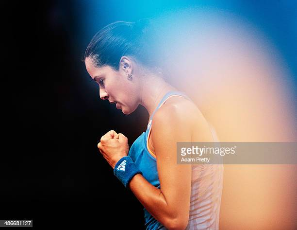 Ana Ivanovic of Serbia celebrates during her match against Svetlana Kuznetsova of Russia on day five of the Porsche Tennis Grand Prix at Porsche...