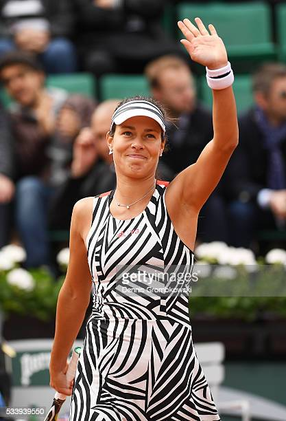 Ana Ivanovic of Serbia celebrates following victory during the Women's Singles first round match against Oceane Dodin of France on day three of the...