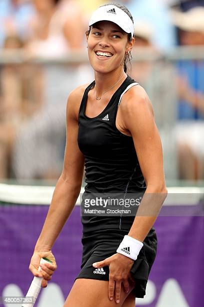Ana Ivanovic of Serbia celebrates her win over Flavia Pennetta of Italy during the Sony Open at the Crandon Park Tennis Center on March 22 2014 in...