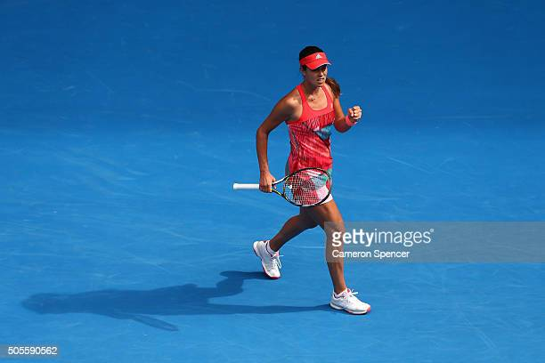 Ana Ivanovic of Serbia celebrates in her first round match against Tammi Patterson of Australia during day two of the 2016 Australian Open at...