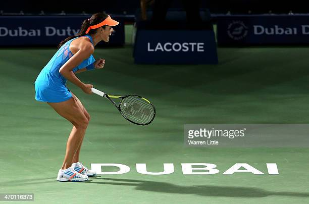 Ana Ivanovic of Serbia celebrates in her match against Angelique Kerber of Germany during day two of the WTA Dubai Duty Free Tennis Championship at...