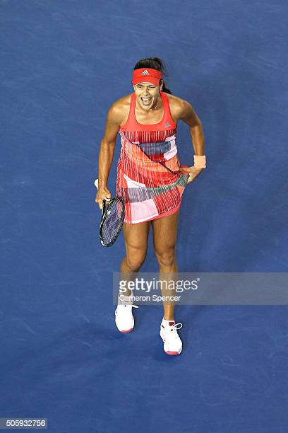 Ana Ivanovic of Serbia celebrates in her second round match against Anastasija Sevastova of Latvia during day four of the 2016 Australian Open at...