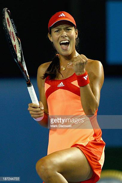 Ana Ivanovic of Serbia celebrates match point after beating Lourdes Dominguez Lino of Spain during day two of the 2012 Australian Open at Melbourne...