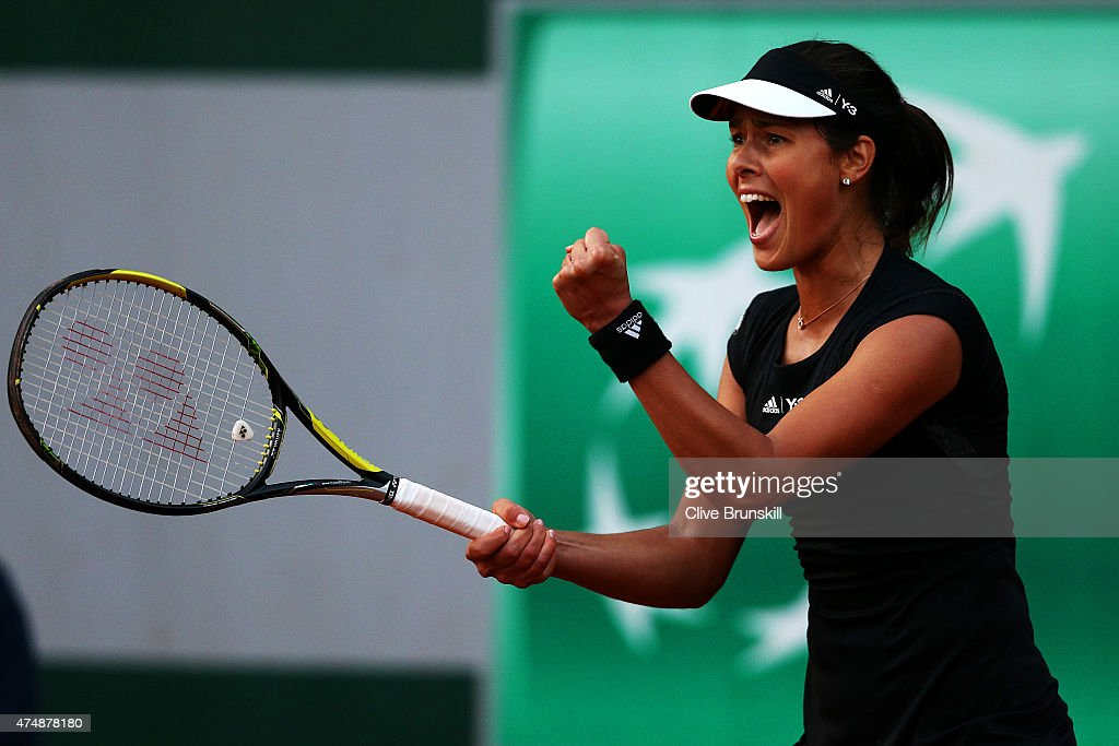 Ana Ivanovic of Serbia celebrates match point during her Women's Singles match against Misaki Doi of Japan during day four of the 2015 French Open at Roland Garros on May 27, 2015 in Paris, France.