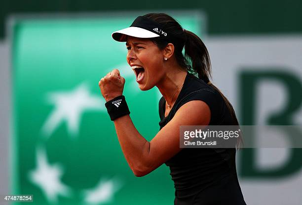 Ana Ivanovic of Serbia celebrates match point during her Women's Singles match against Misaki Doi of Japan during day four of the 2015 French Open at...