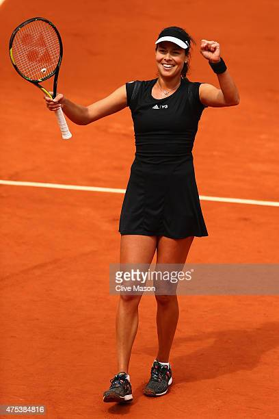 Ana Ivanovic of Serbia celebrates match point in her Women's Singles match against Ekaterina Makarova of Russia on day eight of the 2015 French Open...