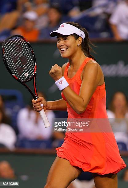 Ana Ivanovic of Serbia celebrates match point over Jelena Jankovic of Serbia in the women's semi final match during the Pacific Life Open at the...