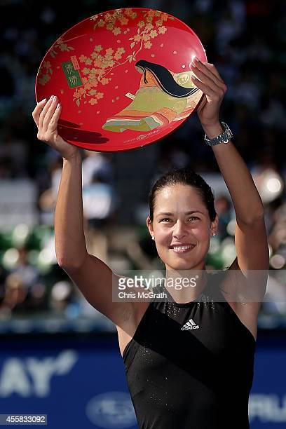Ana Ivanovic of Serbia celebrates victory against Caroline Wozniacki of Denmark during the women's singles final on day seven of the Toray Pan...