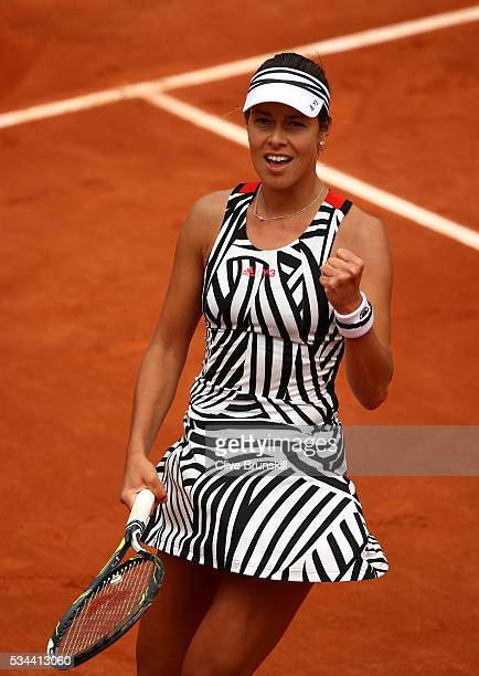 Ana Ivanovic of Serbia celebrates victory during the Ladies Singles second round match against Kurumi Nara of Japan on day five of the 2016 French...