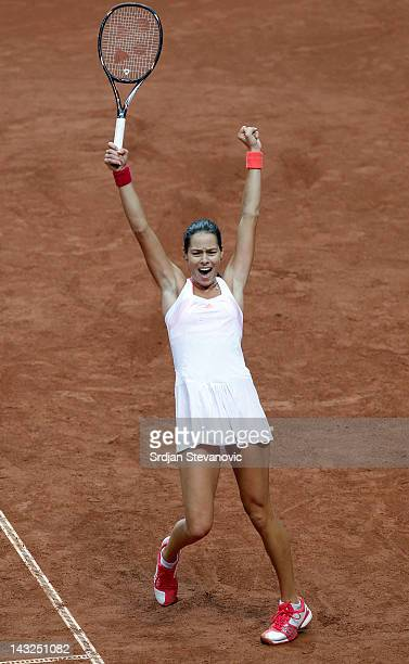 Ana Ivanovic of Serbia celebrates victory in 2012 Fed Cup World Group Semi Finals singles match against Anastasia Pavlyuchenkova of Russia at the...