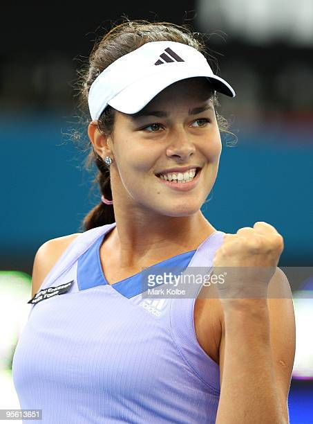 Ana Ivanovic of Serbia celebrates winning a point in her quarter final match against Anastasia Pavlyuchenkova of Russia during day five of the...
