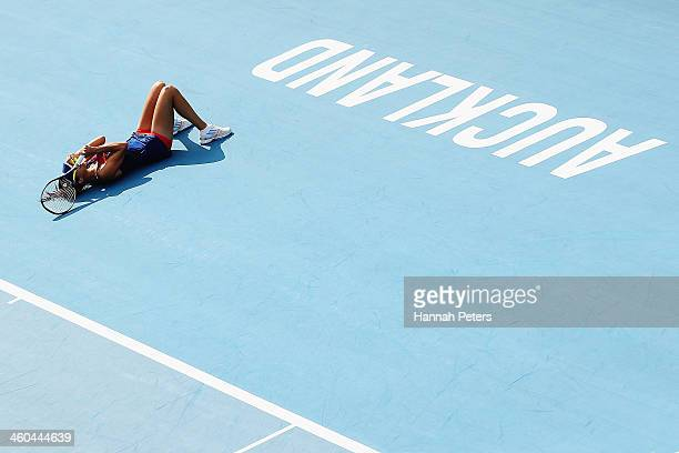 Ana Ivanovic of Serbia celebrates winning her finals match against Venus Williams of the USA on day six of the ASB Classic at the ASB Tennis Centre...