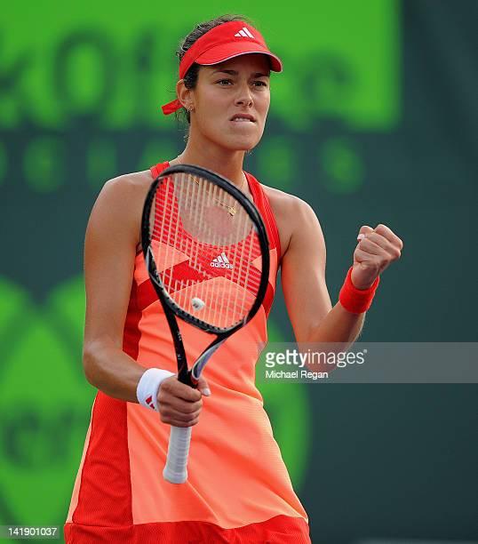 Ana Ivanovic of Serbia celebrates winning her match against Daniela Hantuchova of Slovakia during day 7 of the Sony Ericsson Open at Crandon Park...
