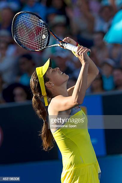 Ana Ivanovic of Serbia celebrates winning her second round match against Yung-Jan Chan of Taipei during day three of the 2013 Australian Open at...
