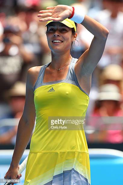 Ana Ivanovic of Serbia celebrates winning her third round match against Jelena Jankovic of Serbia during day five of the 2013 Australian Open at...