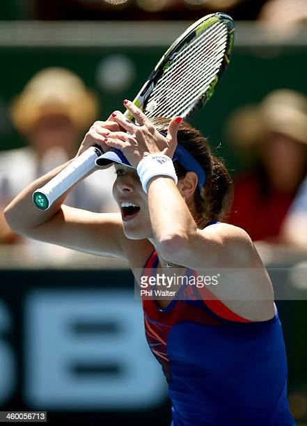 Ana Ivanovic of Serbia disputes a line call during her quarterfinal match against Kurumi Nara of Japan during day four of the ASB Classic at the ASB...
