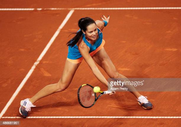 Ana Ivanovic of Serbia hits a forehand during her match against Svetlana Kuznetsova of Russia on day five of the Porsche Tennis Grand Prix at Porsche...