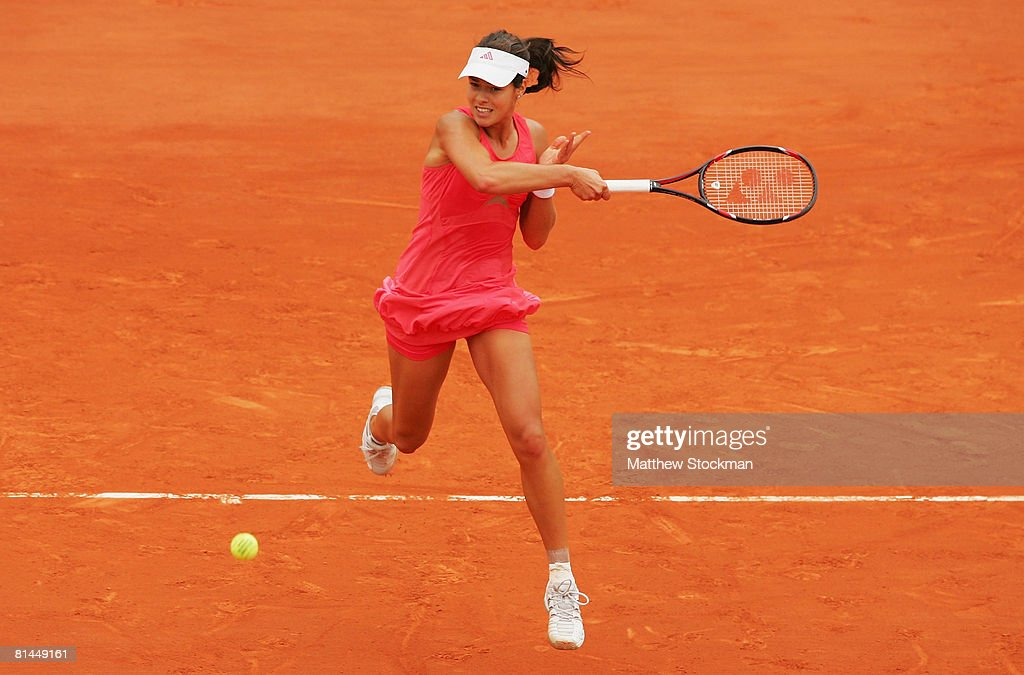 Ana Ivanovic of Serbia hits a forehand serves during the Women's Singles Semi Final match against Jelena Jankovic of Serbia on day twelve of the French Open at Roland Garros on June 5, 2008 in Paris, France.
