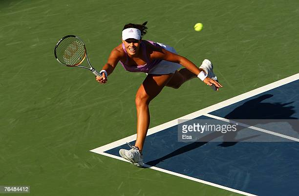 Ana Ivanovic of Serbia hits a return against Venus Williams during day seven of the 2007 U.S. Open at the Billie Jean King National Tennis Center on...