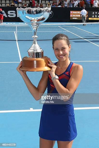 Ana Ivanovic of Serbia holds the trophy after winning the singles final against Venus Williams of USA during day six of the ASB Classic at ASB Tennis...