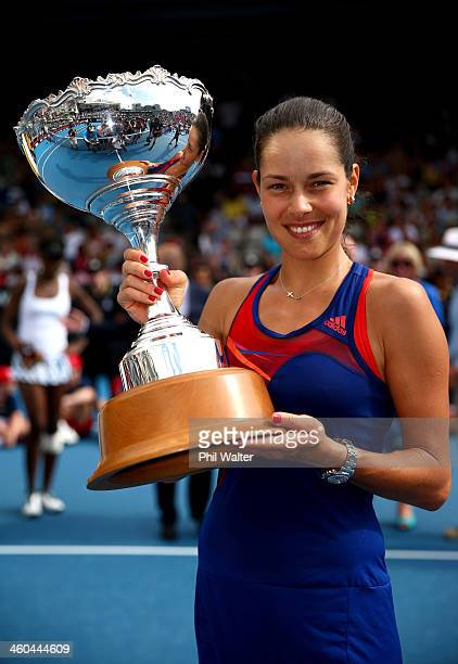 Ana Ivanovic of Serbia holds the trophy following her finals match against Venus Williams of the USA on day six of the ASB Classic at the ASB Tennis...